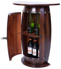 New Vintiquewise Wooden Wine Barrel Console, Bar End Table Lockable Cabinet