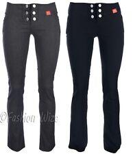 Girls Black Grey Navy School Trousers Pants Stretch Hipster Skinny/ Boot Cut/Leg