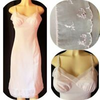 Vtg 60's ROGERS FULL SLIP Pink TRICOT NYLON Chiffon & Embroidery S 34