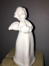 "Nib Roman, Inc Angel With Trumpet Figure 6"", White with Glitter 29361"