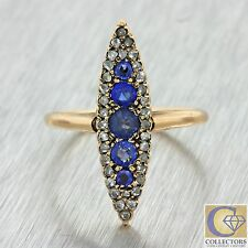 1880s Antique Victorian 14k Solid Rose Gold Rose Diamond Sapphire Navette Ring
