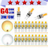 10/50pcs G4 LED COB 3W/6W 12V AC/DC Warm/Cold White Light Lamp Bulb Dimmable LOT