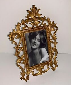 Antique Victorian Cast Iron Rococo Gold Gilt Photo Picture Frame Holds 4x6 Photo