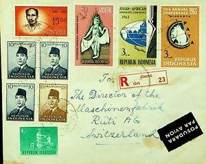 INDONESIA 1964 9v ON GARUT REGD AIRMAIL PART COVER TO RUTI SWITZERLAND