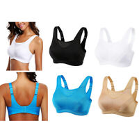 Women Seamless Sport Bra Wireless No Padded Yoga Comfort Stretch Top Running B-G