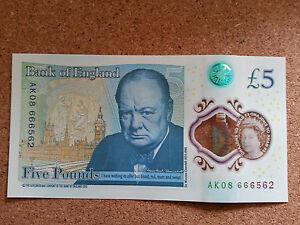 AK08 666562 Genuine Rare Serial Number £5 Pound Note
