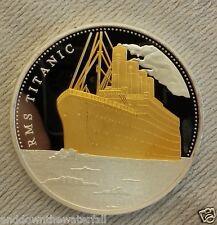 TITANIC Silver & Gold Coin Atlantic Ocean Man Map Sea Ship Sailing Old U C Retro