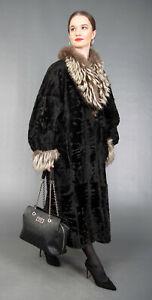 4420 GLAMOROUS REVERSIBLE PERSIAN BROADTAIL LEATHER FUR COAT BEAUTIFUL SIZE XL