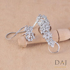 Simulated Cubic Diamond Royal Designers Double Knuckle Finger Ring 509 0RC 84