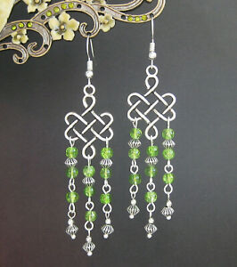 Celtic Knot and Green Beads Long Dangly Chandelier Earrings in Gift Bag