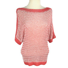 Chico's Size 2 12 14 Boat Neck Top Relaxed Rayon Knit Short Sleeve Pink Salmon