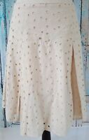 The Limited Pleated Skirt Women's Size 4 Ivory Beige Eyelet Embroidery Floral