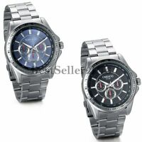 Fashion Stainless Steel Luxury Sport Analog Quartz Business Mens Wrist Watch