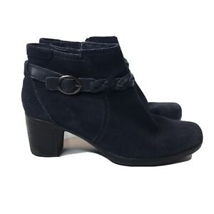 Clarks High Heel Suede Ankle Boots Booties Size 10 Navy Blue