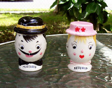 Japan 1950s 2 Vintage Mustard & Ketchup Container Jars Japan Man & Woman