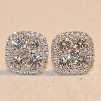 1.20 Ct Round Cut Diamond Halo Stud Earrings For Womens In 14k White Gold Over