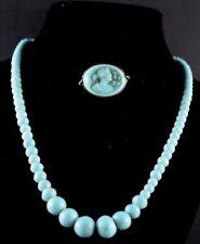 1870's-80's Art Nouveau Blue Milkglass Cameo Brooch & Matching Necklace
