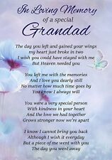 Loving Memory Special Grandad Memorial Graveside Poem Card & Ground Stake F308