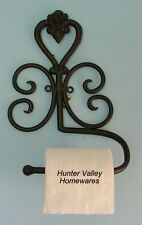 Wrought Iron Wall Mounted Toilet Roll Holder - Heart design Bl/Br Min Sec  BA85