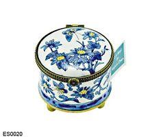 KELVIN CHEN Enamel Copper Hand Paint STAMP Dispenser Blue White Chrysanthemum