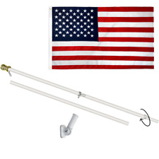 6ft Spinning Flag Pole & Embroidered Usa Flag 3x5ft 6ft Pole with Flag - White