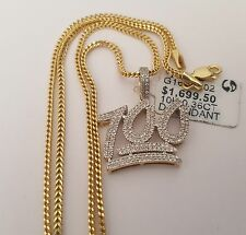 10K Yellow Gold 100% Emoji Sign Diamond Pendant Charm 18 Inch Franko Chain Men
