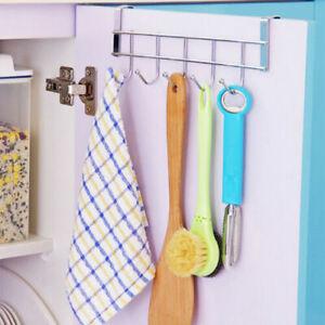 5 Hooks Over Cabinet Door Hangers Cupboard Kitchen Bathroom Wardrobe Towel Coat