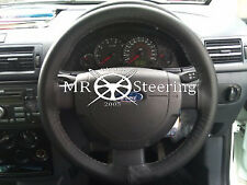 FOR FORD FIESTA MK6 02-10 REAL BLACK ITALIAN LEATHER STEERING WHEEL COVER NEW