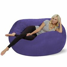 Oversized Memory Foam Bean Bag Chair w/ Soft Micro Suede Cover - Purple 5Ft