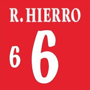 Hierro 6. Spain Home football shirt 1998 - 1999 FLOCK NAMESET NAME SET PRINT