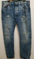 Men's Levi's 501 Distressed Blue Straight Leg Button Fly Jeans -36W X 34L