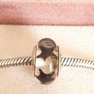 Genuine PANDORA Black Star Murano Glass Charm