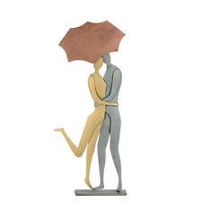Love Couple with Umbrella, Modern Handmade Metal Wall Art & Tabletop Sculpture