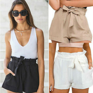 Elegant Bow Solid Loose Short Pants With Belt - Apricot