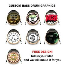 "Custom Bass Drum Head Vinyl Decal 22"" Your Art Design Kick Decal Wrap Sticker"