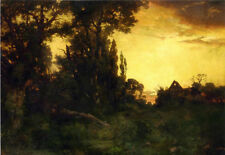 Large Oil painting Thomas Moran - Twilight with house in dusk landscape canvas