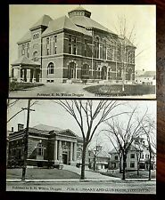 PUBLIC LIBRARY CLUB HOUSE TOWN HALL STOUGHTON MASSACHUSETTS MA 2 Postcards c1904