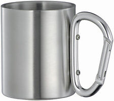 200ml Isolating Stainless Steel Carabiner Travel Mug,Double Wall Hook hold Cup