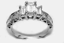 1.40Ct G Color Emerald Baguette Princess Diamond Engagement 14K White Gold Ring