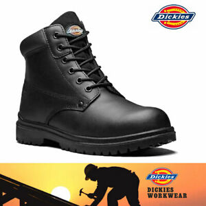 DICKIES Antrim II Men's Safety Work Boots Shoes  Steel Toe Cap  Black Leather