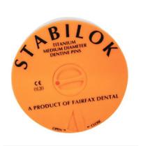 STABILOK TITANIUM MED DIAMETER DENTINE PINS ECONOMY ORANGE 100 PCS + 5 DRILLS.