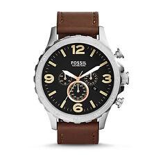 Fossil JR1475 Nate Chronograph Quartz Leather Strap Watch