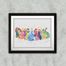 Disney Princess Art Print, Printable, Watercolor poster, Wall Art, DIGITAL file