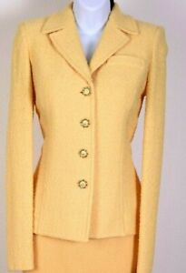 ST.JOHN Collection Womens Knit Tweed Yellow Boucle Jacket  Sz 4