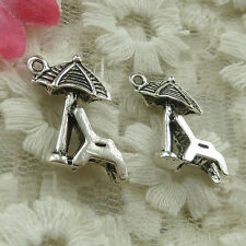 Free Ship 150 pieces Antique silver umbrella chair charms 18x15mm #4507