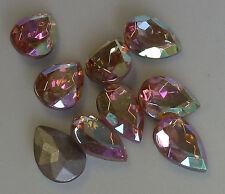 12 Vintage Glass Rhinestones Pear Rose AB TTC Foiled PB Germany 18x13mm E1-6B