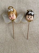 *2 Vintage Nylon Head Wire Wing Blonde Brunette Angel Pick Made in Japan