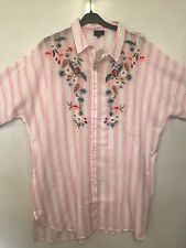 River Island Pink Stripe Floral Embroidered Cotton Nightshirt Size L