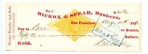 1876   San Francisco, California Hickox & Spear Bankers Revenue  Gold  Check