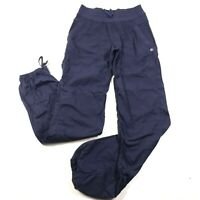 Lululemon Track Hiking Pants Womens 4 Navy Blue Striped Cinch Ankles Joggers